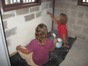 Painting the bathroom before putting in the fixtures